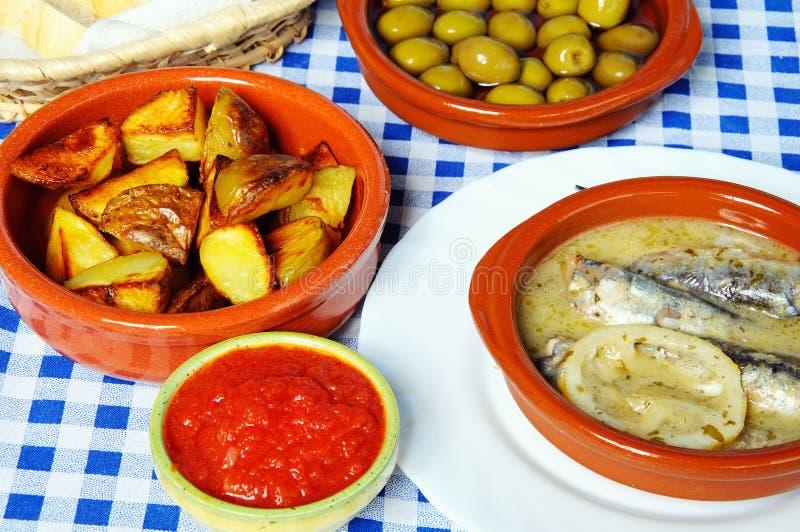 Spanish tapas selection. stock photos