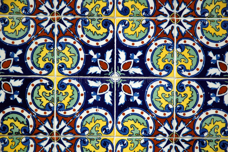 Spanish Tile. On a wall stock image
