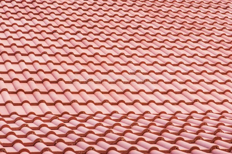 Spanish tile roof. Abstract background texture Mediterranean architectural details.  royalty free stock photo