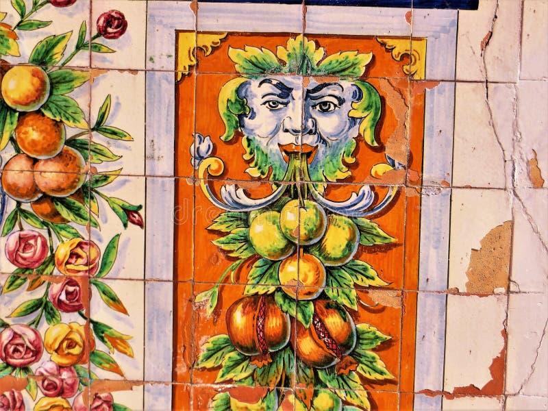 Spanish tile on Ybor City restaurant stock images