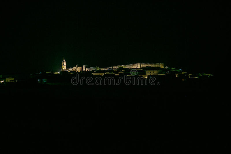 Spanish town at night. Cumbres Mayores, Huelva. Spanish town at night. Cumbres Mayores royalty free stock images