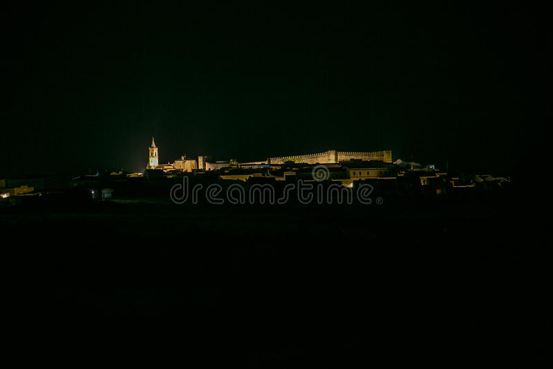 Spanish town at night. Cumbres Mayores. Spanish town at night.Cumbres Mayores. Huelva stock images