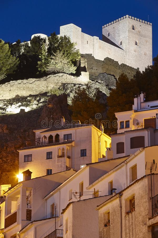 Spanish traditional village by night. Segura de la Sierra. Jaen stock photography