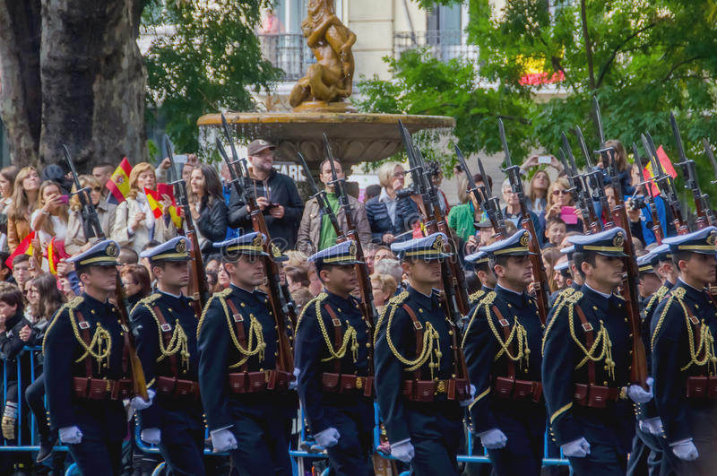 Spanish troops marching in a military parade stock photography