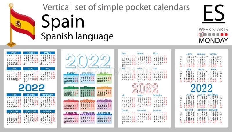 Uw Calendar 2022.Spain Vertical Pocket Calendar For 2021 Stock Vector Illustration Of Event Collection 177807660