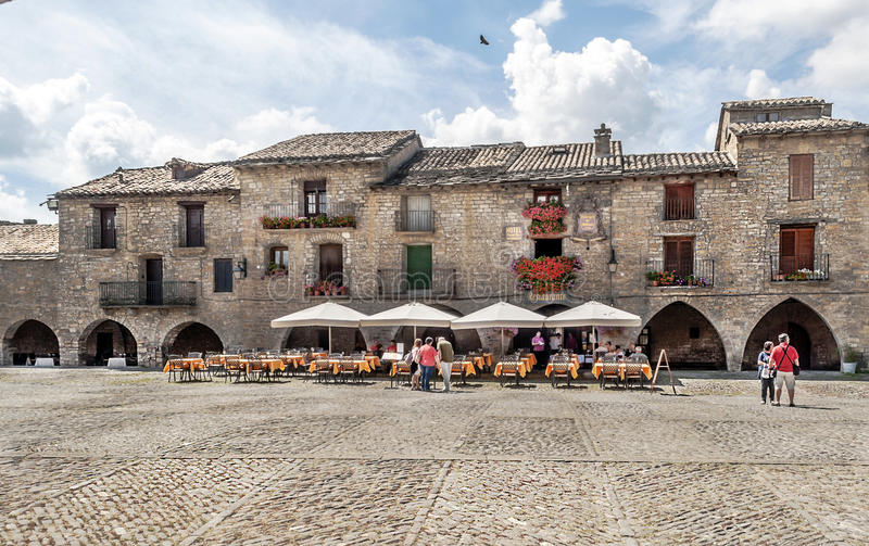 Spanish village square Ainsa stock photography