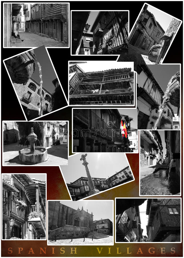 Spanish villages. A composition of several black and white photos of spanish villages. At the bottom of a black background dégradé appears the colors of royalty free stock images