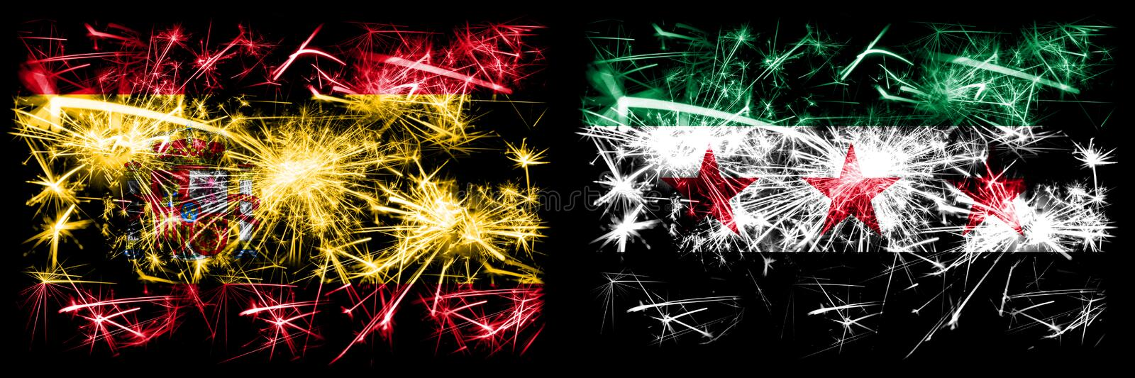 Spanish vs Syria, Syrian Arab Republic, three stars, observed New Year celebration sparkling fireworks flags concept background. Combination of two abstract royalty free illustration