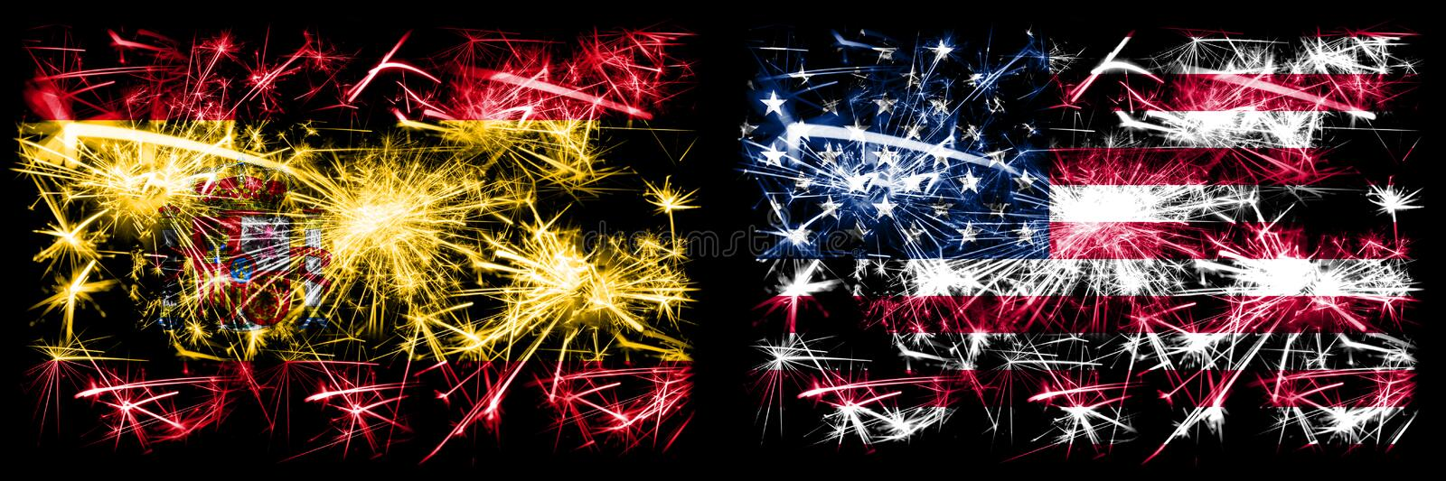 Spanish vs United States of America, American, USA New Year celebration sparkling fireworks flags concept background. Combination. Of two abstract states flags stock illustration