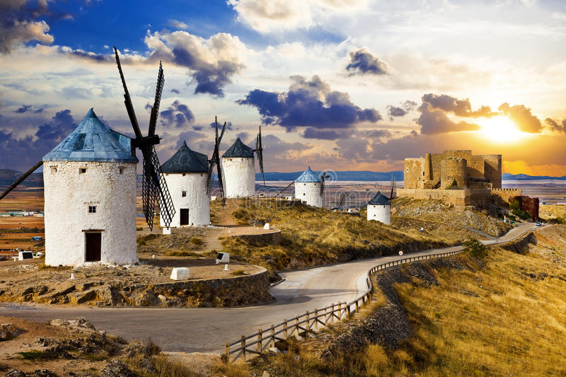Spanish windmills stock images