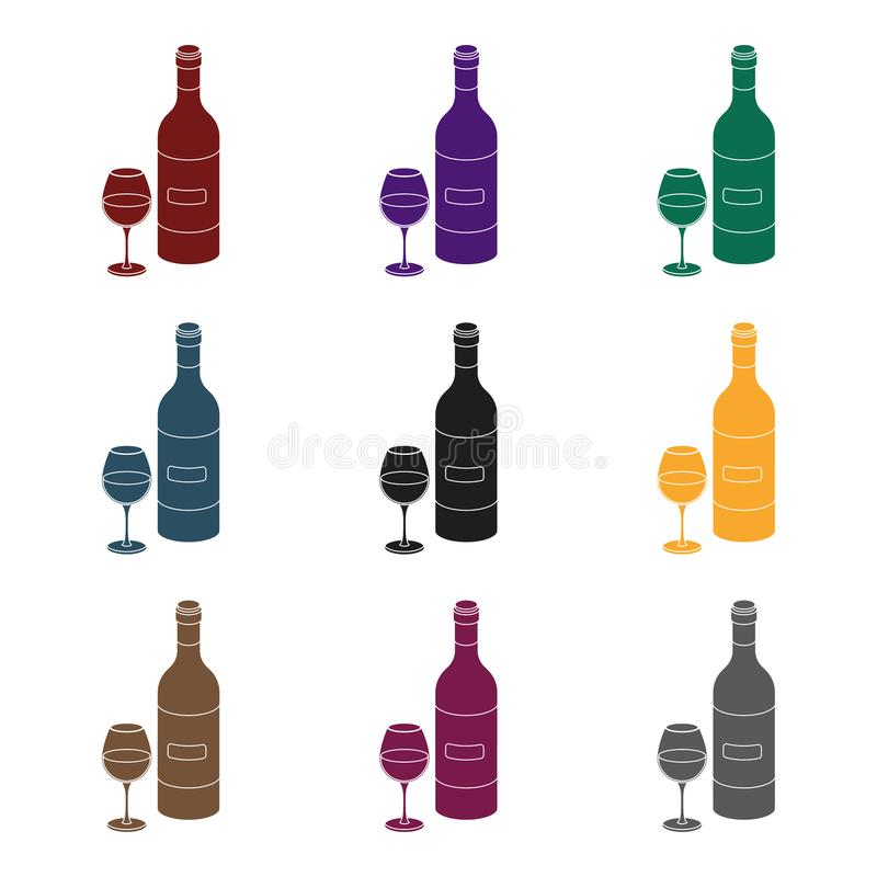 Spanish wine bottle with glass icon in black style isolated on white background. Spain country symbol stock vector. Spanish wine bottle with glass icon in black stock illustration