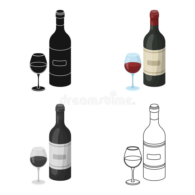 Spanish wine bottle with glass icon in cartoon style isolated on white background. Spain country symbol stock vector. Spanish wine bottle with glass icon in royalty free illustration