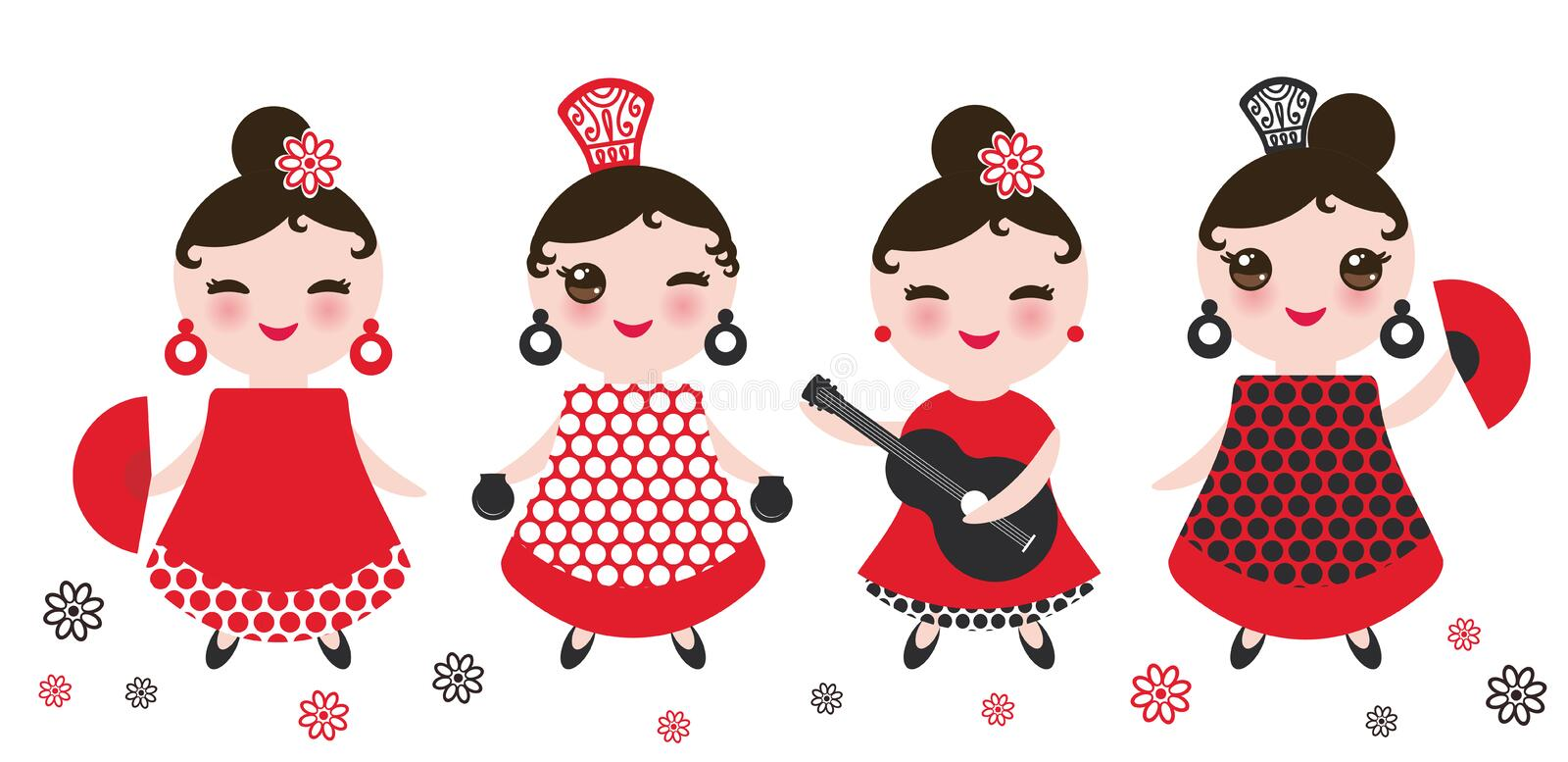 Spanish Woman flamenco dancer. Kawaii cute face with pink cheeks and winking eyes. Gipsy girl, red black white dress, polka dot fa stock illustration