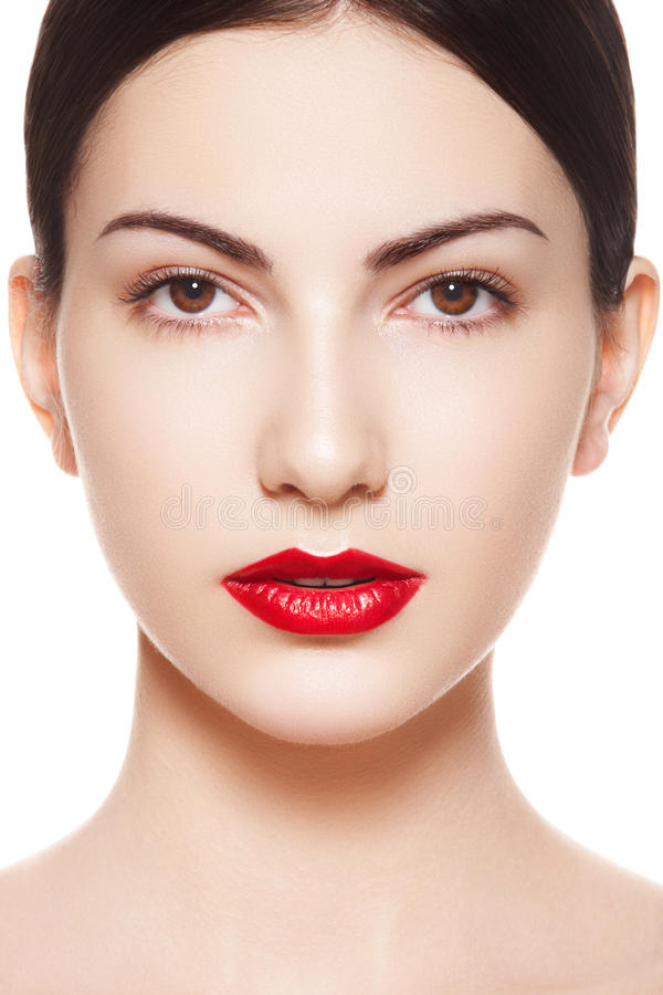 Spanish Woman Purity Face With Bright Lips Make-Up Stock -3867