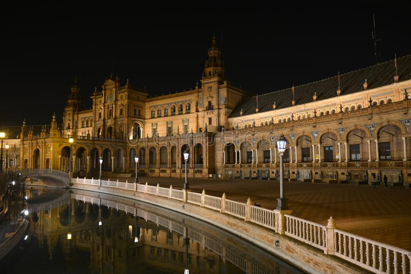 Plaza de Espaňa in Seville at night. The Spanish world between fun and sacrality royalty free stock photography