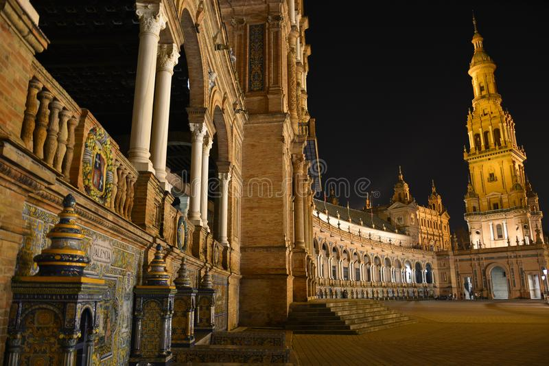 Plaza de Espaňa in Seville at night. The Spanish world between fun and sacrality stock image