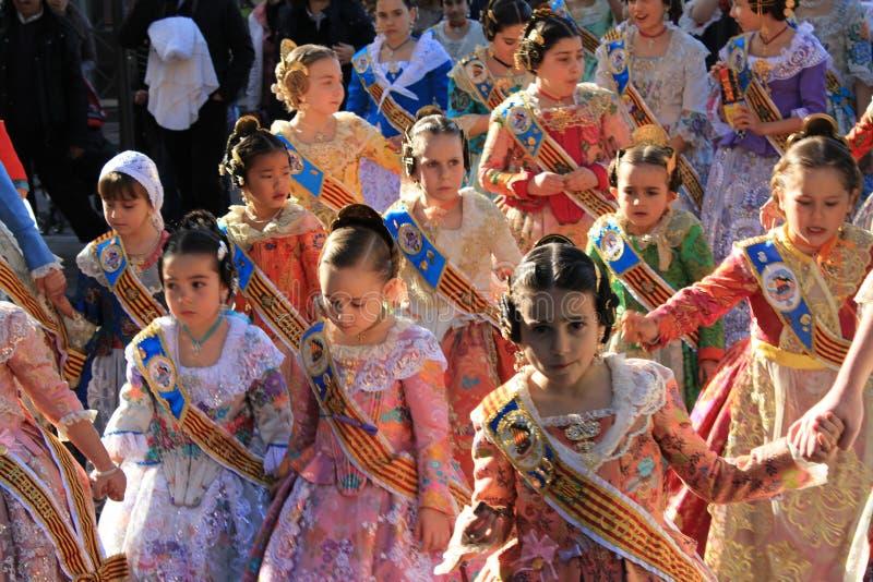 Spanjaarden en meisjes in Valencia, Spanje stock fotografie