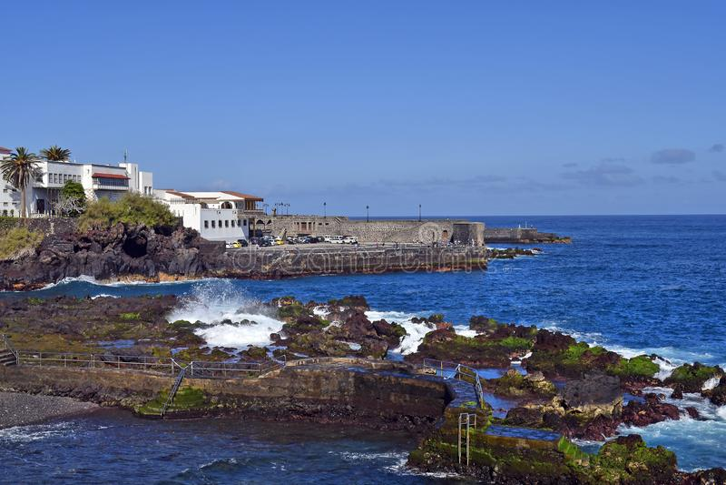 Spanje, Canarische Eilanden, Tenerife, Puerto de la Cruz stock afbeeldingen