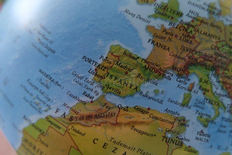 Spanje dat op uitstekende kaart van Europa wordt gespeld stock foto's