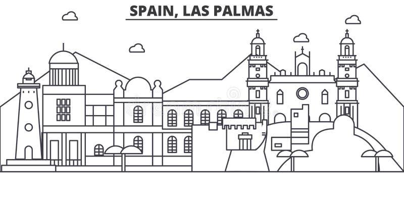 Spanje, de illustratie van de de lijnhorizon van de Las Palmasarchitectuur Lineaire vectorcityscape met beroemde oriëntatiepunten stock illustratie