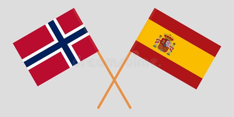 Spanje en Noorwegen De Spaanse en Noorse vlaggen Officieel aandeel Correcte kleuren Vector stock illustratie