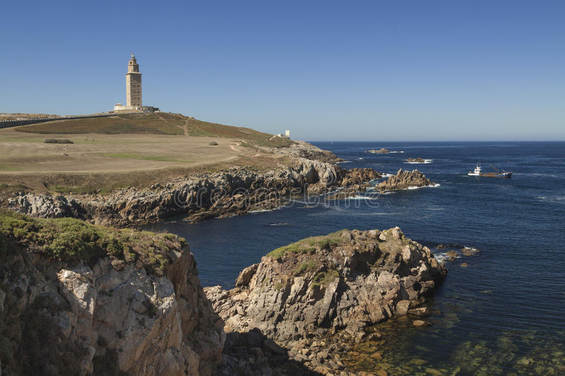 Spanje, Galicië, een Coruna, Hercules Tower Lighthouse royalty-vrije stock foto's
