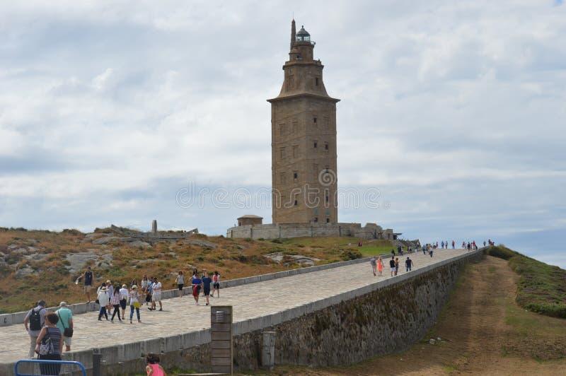 Spanje, Galicië, een Coruna, Hercules Tower Lighthouse stock foto