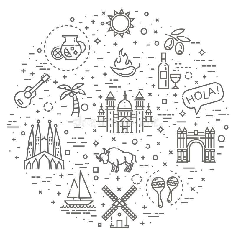 Spanje geschetste pictogramreeks vector illustratie