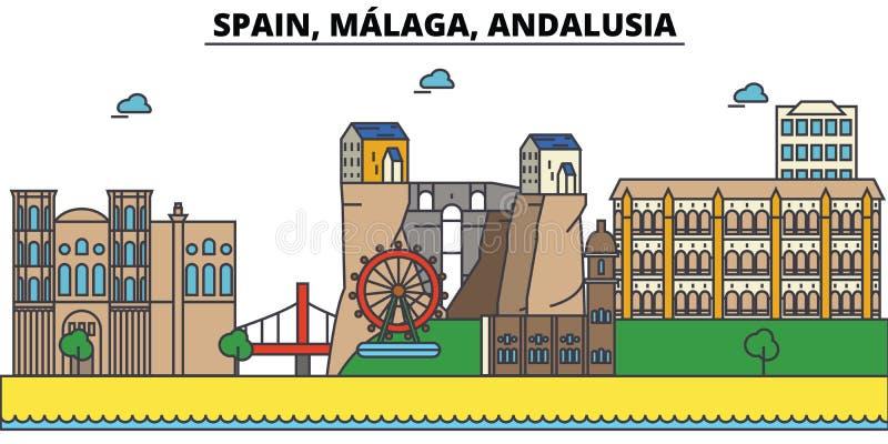 Spanje, Malaga, Andalusia De architectuur van de stadshorizon stock illustratie