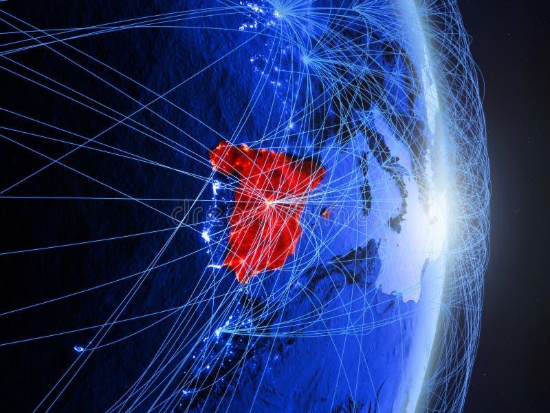 Spanje op blauwe blauwe digitale Aarde stock afbeelding