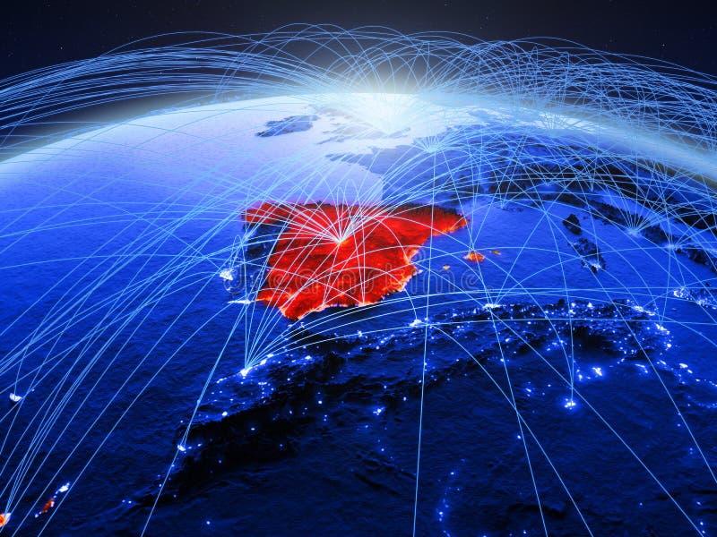 Spanje op blauwe digitale aarde met internationaal netwerk die mededeling, reis en verbindingen vertegenwoordigen 3D Illustratie royalty-vrije stock afbeelding