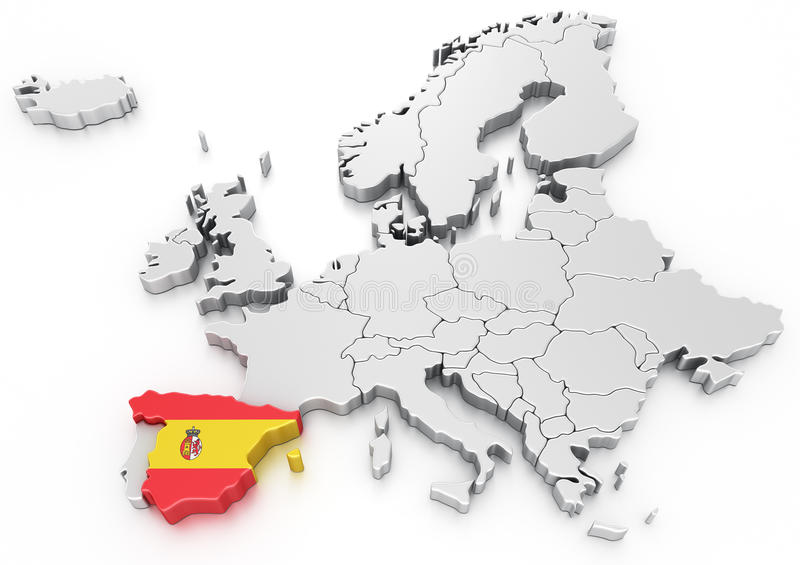 Spanje op een Euro kaart royalty-vrije illustratie