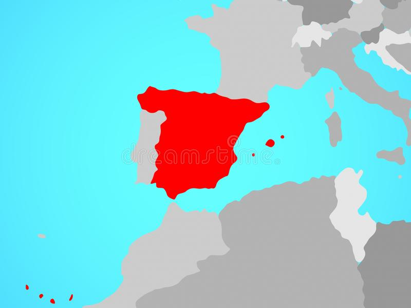 Spanje op kaart stock illustratie