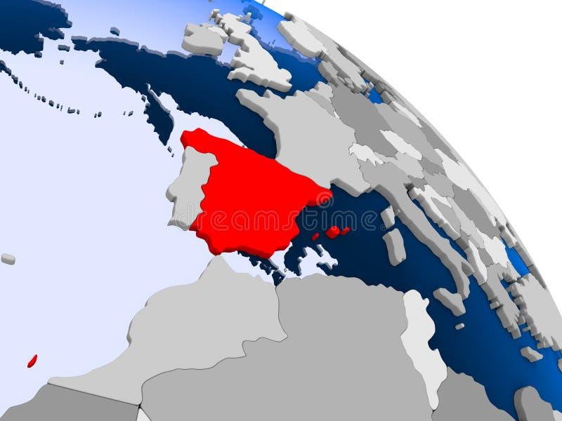 Spanje in rood op kaart stock illustratie