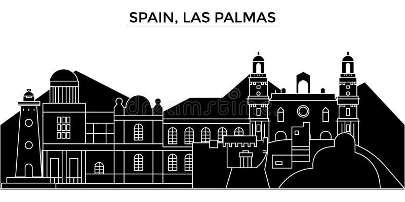 Spanje, vector de stadshorizon van de Las Palmasarchitectuur, reiscityscape met oriëntatiepunten, gebouwen, isoleerde gezichten royalty-vrije illustratie