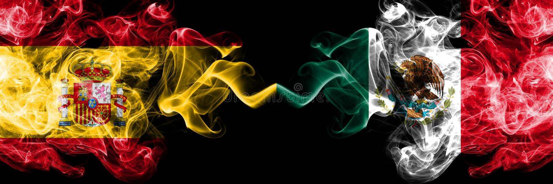 Spanje versus Mexico, Mexicaanse rokerige zij aan zij geplaatste mysticusvlaggen Dik gekleurde zijdeachtige Mexicaanse rookvlag v stock afbeelding