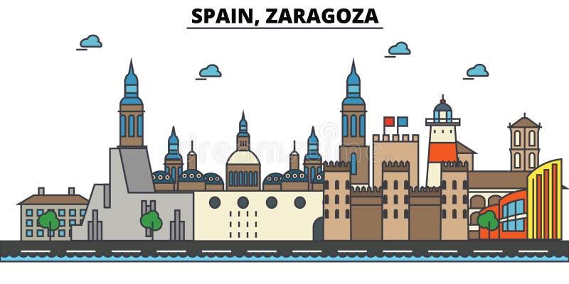 Spanje, Zaragoza De architectuur van de stadshorizon editable vector illustratie