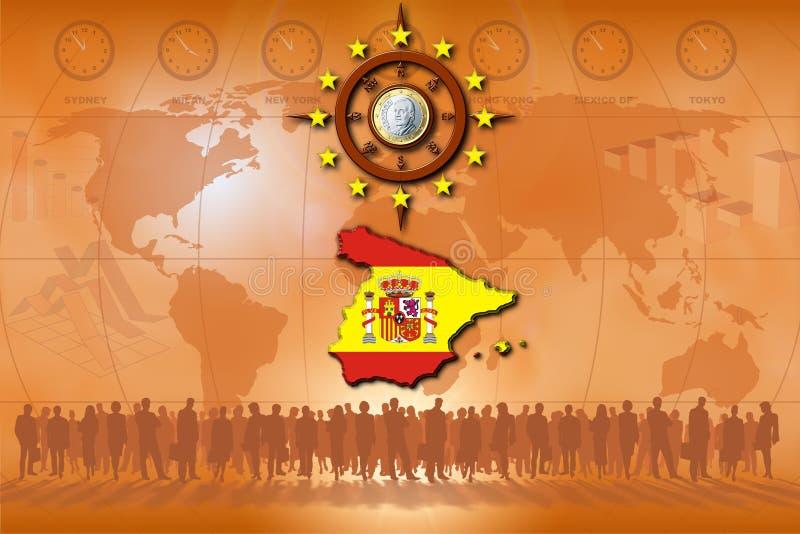 Spanje, zijn muntstuk en buitenlandse handel royalty-vrije illustratie