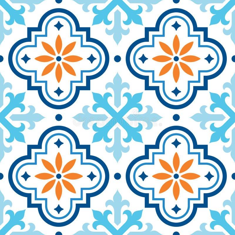 Spanjortegelplattamodellen, marockanska tegelplattor planlägger, sömlösa blått och apelsinbakgrund stock illustrationer