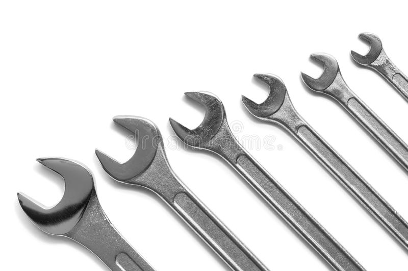 Spanner assortment. On white background royalty free stock photos