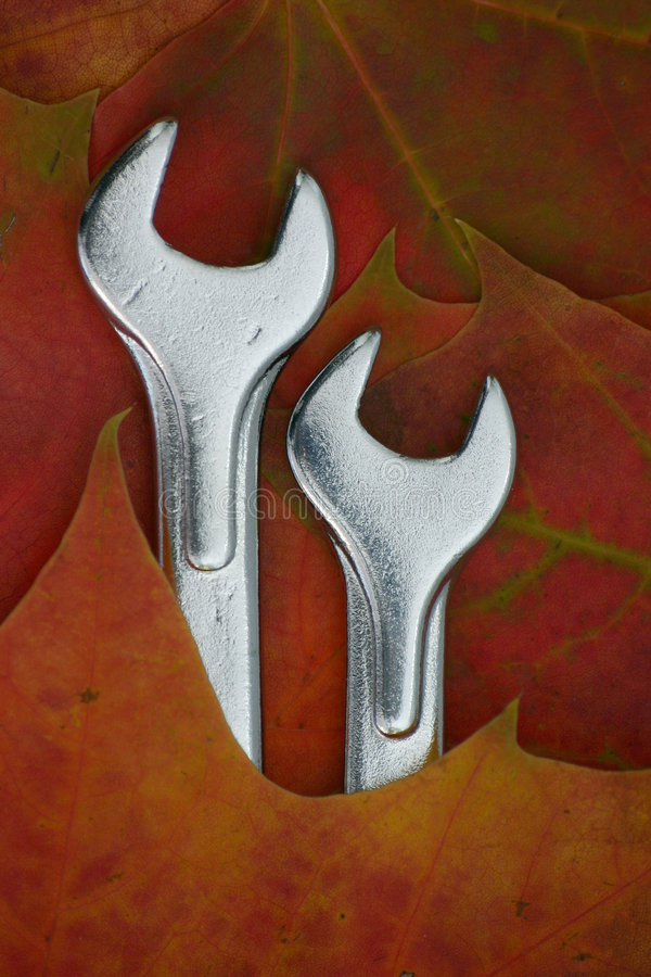 Spanner and the autumn royalty free stock photo