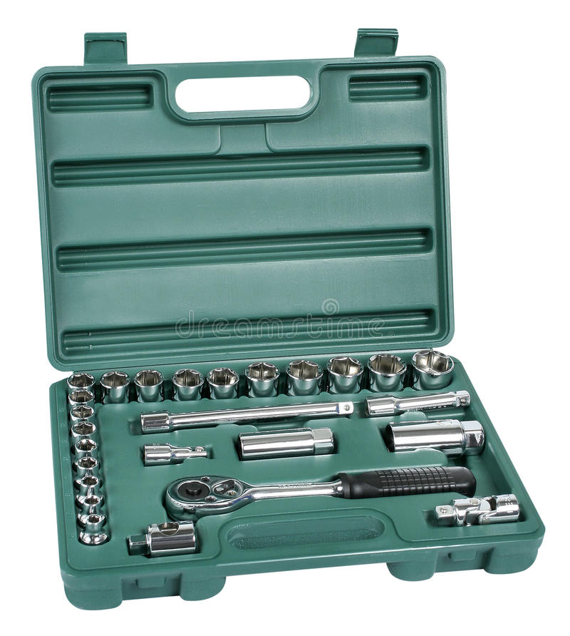 Spanner and bits kit in green toolbox royalty free stock image