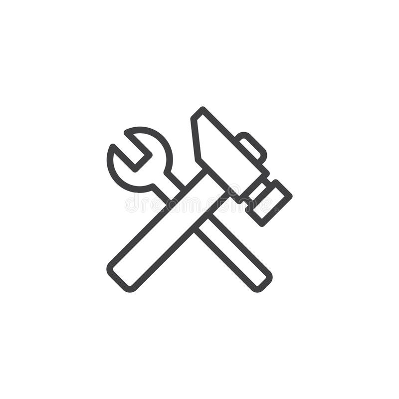 Spanner and hammer line icon. Linear style sign for mobile concept and web design. Repair service outline vector icon. Symbol, logo illustration. Pixel perfect royalty free illustration