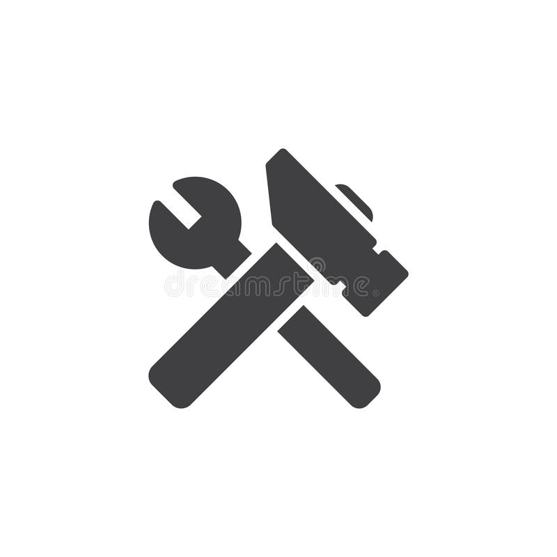Spanner and hammer vector icon. Filled flat sign for mobile concept and web design. Repair service glyph icon. Symbol, logo illustration. Pixel perfect vector royalty free illustration