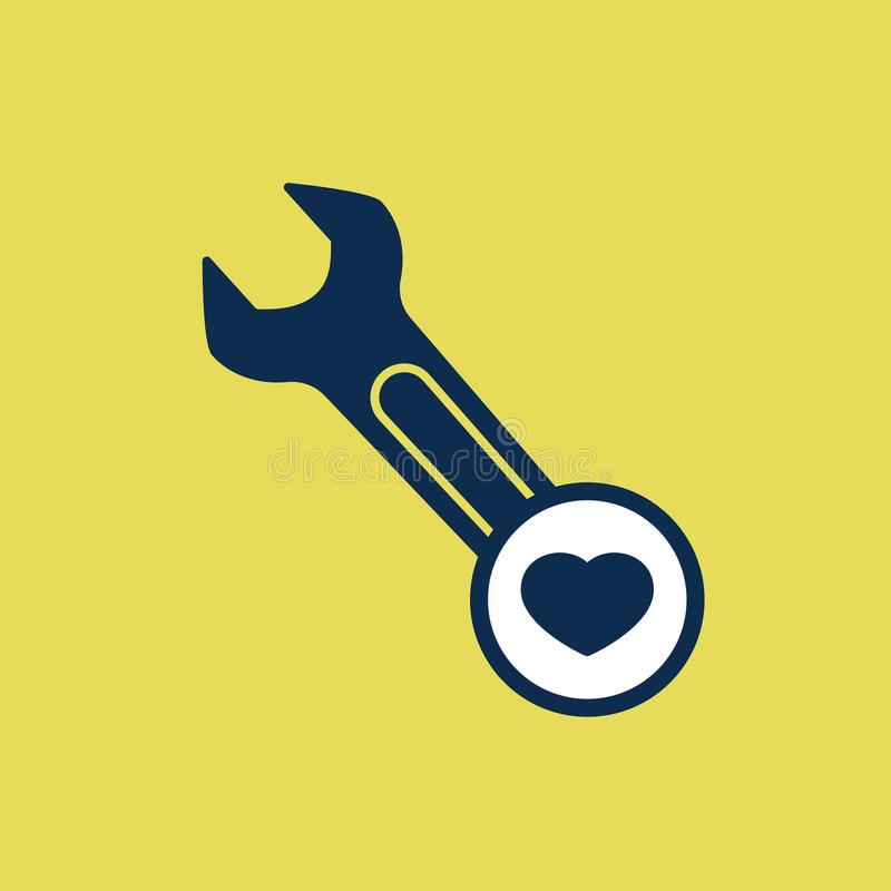 Spanner icon with heart sign. Spanner icon and favorite, like, love, care symbol. Vector illustration stock illustration