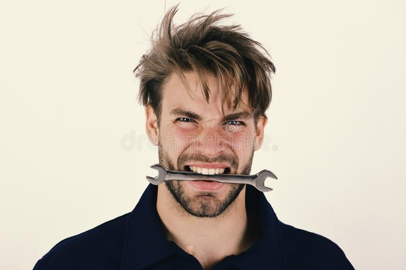 Spanner instrument for fixing or tightening details. stock images