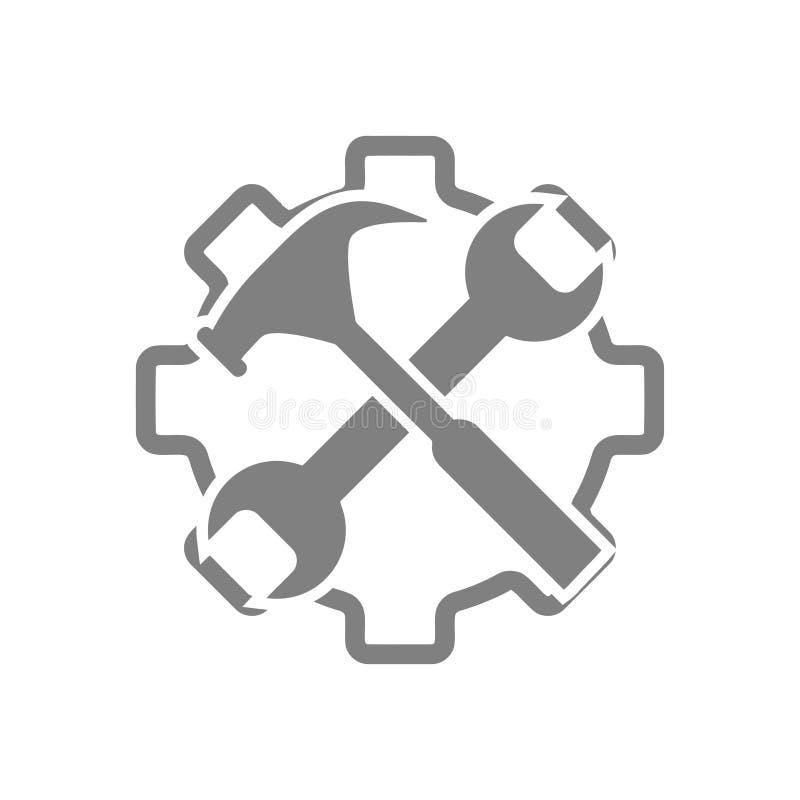 spanner, naprawa, młot, wyrwanie, budowa, pracy narzędziowa ikona ilustracja wektor