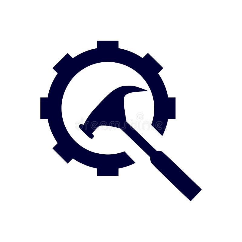 spanner, naprawa, młot, wyrwanie, budowa, projekt, położenia, wyposażenie, usługa, ax, utrzymanie koloru błękitna ikona ilustracja wektor