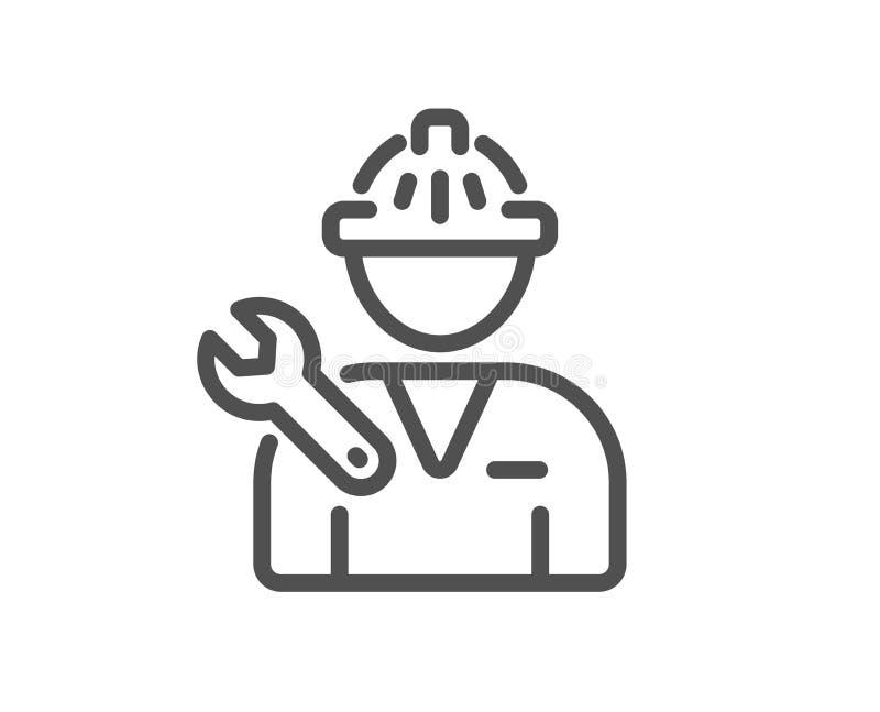 Spanner narzędzia linii ikona Repairman usługi znak wektor royalty ilustracja