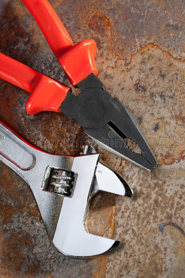 Download Spanner and pliers stock photo. Image of brown, detail - 23566430